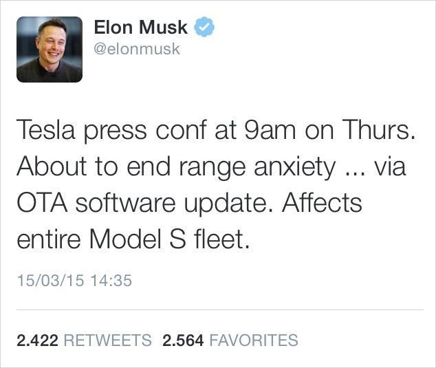 Izjava Elona Muska, ustanovitelja podjetja Tesla, na Twitterju.