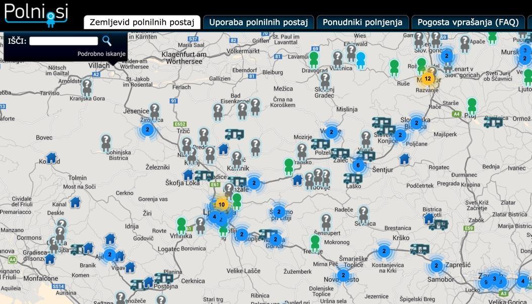 Zemljevid polnilnih postaj Polni.si